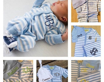 3 piece striped monogrammed baby boy gift set. Baby Boy Gift Set. 0-6 month size.