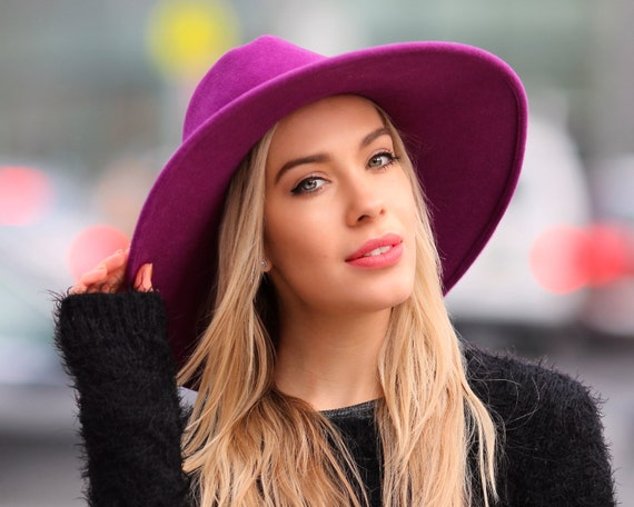 Wide Brimmed Fedora Hat Women's Hat Spring Fashion Spring Accessories Winter Accessories Purple Hat Wide Brim Boho Hat Felt Fedora Hat
