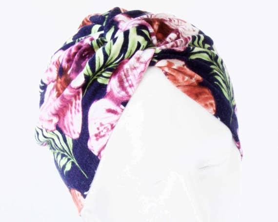 Turban Hat Stretch 1940s Snood Cap Flirty Floral Chemo Cap Hawaiian Tropical Flower Print Spring Accessory Hair Wrap Soft Turban Packable