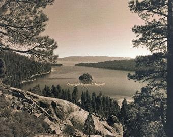 Tahoe's Emerald Bay - vintage photo on canvas