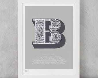 Illustrated Letter B Screen Print, Letter B, Butterflies Screen Print, Illustrated Letter, Illustrated B, Alphabet Art Print, Alphabet Art