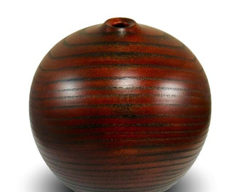 Sale - Elm Wood - Ruby Red - Handmade Home Decor - Elm Wood Vessel -