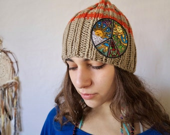 Tan/Orange Striped Hippie Peace Sign Embroidered Slouchy Handknit Hat Beanie Boho MountainGirlClothing
