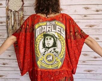 Bob Marley Rasta Tapestry India Print Bohemian Hippie Festival Kimono Batwing Poncho Jacket Sweater Shirt Red One Size