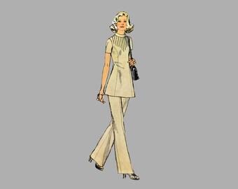 1972 Dress pattern Simplicity 5345 Tunic pattern Pants Pattern Designer Fashion Bust 36 / 38 Princess seams Short sleeves Straight leg pants