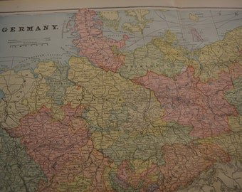 1898 LARGE Map Germany German Empire - Vintage Antique Map Great for Framing 100 Years Old