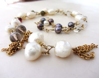 Bohemian tassel pearls necklace. 14k gold filled and pearls necklace