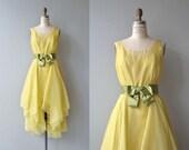 Travilla cocktail dress | vintage 1960s dress | yellow 60s party dress