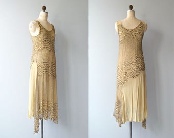 Temple of Theia dress | vintage 1920s dress | metallic silk 20s dress