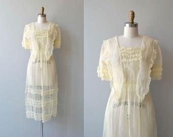Tea in Montgomery dress | antique 1910s dress | cotton voile Edwardian dress