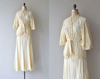 Moon Mystic two-piece set |  vintage 1970s crochet dress | 70s cotton gauze blouse and skirt