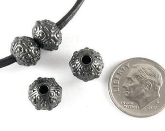 TierraCast Pewter Beads-Black LARGE HOLE OASIS 10mm (4)