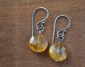 Citrine Earrings Hand Fabricated Sterling Silver