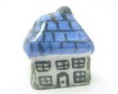 Dollhouse Miniature summer ceramic cottage blue roof