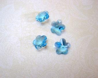Swarovski Crystal Aquamarine Flower Pendant - Set of 4 - 12mm