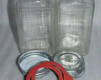 2 Vintage Quart Hazel Atlas Grid Squares Patterned Embossed Mason Canning Jars Zinc Lids