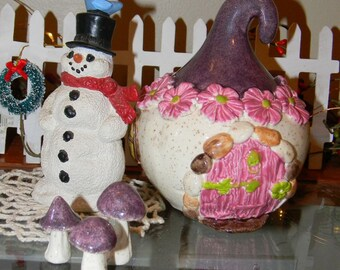 Ceramic MUSHROOM House   Fairy House Bank   Ceramic Fairy Home   Hand Built OOAK Glazed  Gnome garden decor Glitter Glazed Purple Roof
