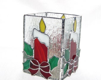 Christmas Candle Stained Glass Candle Holder Christmas Decoration Red Christmas Candle Holder Christmas Votive Candle Holder Glass Candle