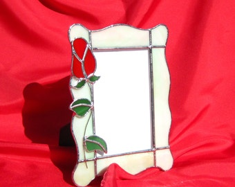 Love You Truly Frame Rose Bud Frame 4 x 6 Stained Glass Frame Glass Picture Frame Red Rose Frame 4 x 6 Portrait Frame Glass Picture Frame