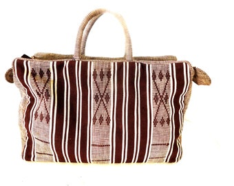 Vintage 40s 50s Cotton Purse Bag Rockabilly Southwestern Aztec Geometric Stripes Brown White Slouchy Handbag