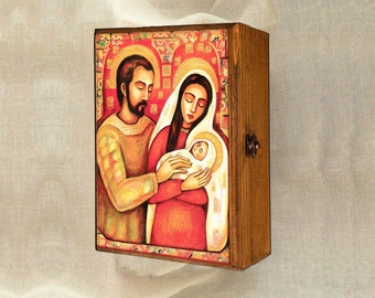 Holy Family box, Christmas Nativity box, Virgin Mary and Jesus, mother and child, mother box, christian box, jewelry box, 7x10