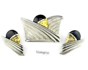 Art Deco Style Lady Face Brooch Earrings Pierced Post