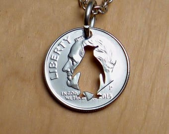 Penguin Necklace, Penguin Pendant, Penguin Jewelry, Keychain, Cut In A Dime, Cut Coin, Cut Coin Jewelry