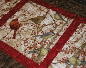 Quilted Table Runner, Birds and Berries, 13 x 37 1/2 inches