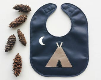 Teepee Leather Baby Bib with Pocket and Magnet Clasp // Stain Resistant // Adjustable Bib // Neutral Baby Gift // Option to Personalize