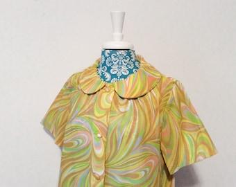 vintage 1960's robe loungewear // groovy mod housecoat // dayglo 60's Spring Summer