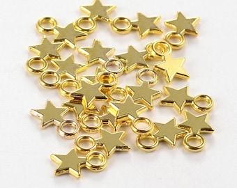 Gold Star - Christmas Star Charm - 3D Style - Set of 25 - #HK1205G