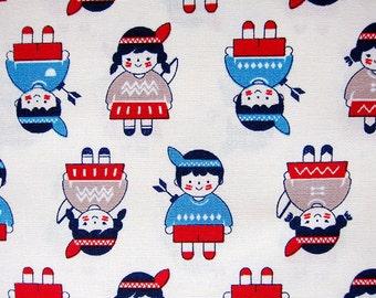 Two Little Indian Children - Cotton Fabric - Children Print Fabric - Half Yard
