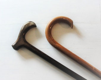 Two Old Wood Walking Canes with Rubber Tips Different Grip Styles