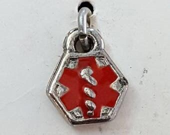 Medilog Silver Charm, Medical Alert Charm, Red Enamel CHARM, Vintage Charm, Silver color metal,  Speidel Charm