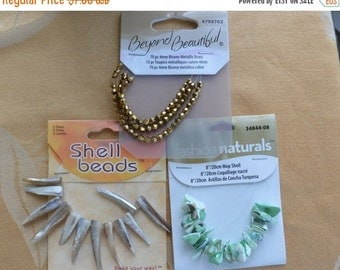 On sale Pretty Mixed Bead Lot, Shell, Metallic Brass Glass Beads, Crafts, Repurpose, Upcycle