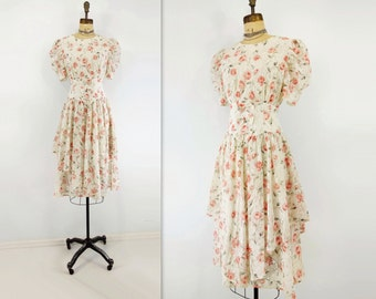 RESERVED  80s Floral Dress White Floral Dress Vintage Lace Dress 80s Party Dress Pink Floral Dress Fit and Flare Dress Short Sleeve Dress s