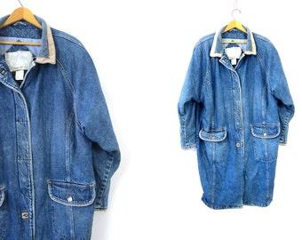 Vintage Long denim jean jacket full length Duster Coat Corduroy Collar Maxi Utility Coat Winter Coat Women's Size XL Extra Large
