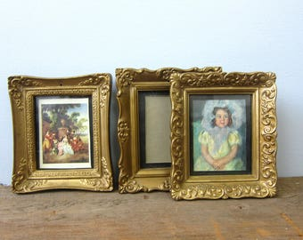 Small Frames Vintage Plastic Picture Frames instant collection Ornate Gold wedding family GS Photography Frames Set of 3 Mismatched w/ Glass