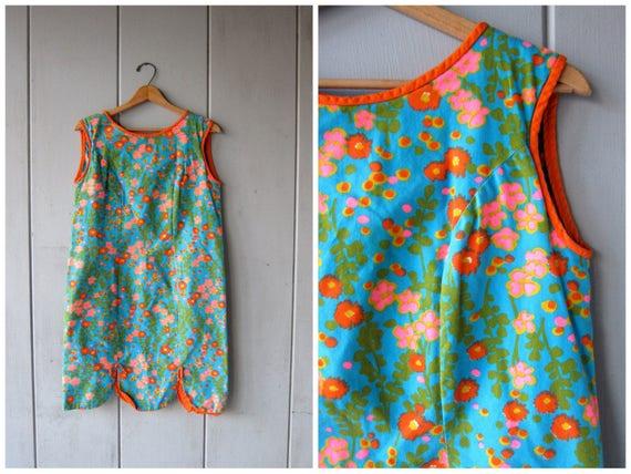 60s Mod Mini Dress Vintage Floral Print Hawaiian Dress Retro 70s Sundress Hawaii Go Go Girl Dress Blue Hot Pink Orange Womens Small