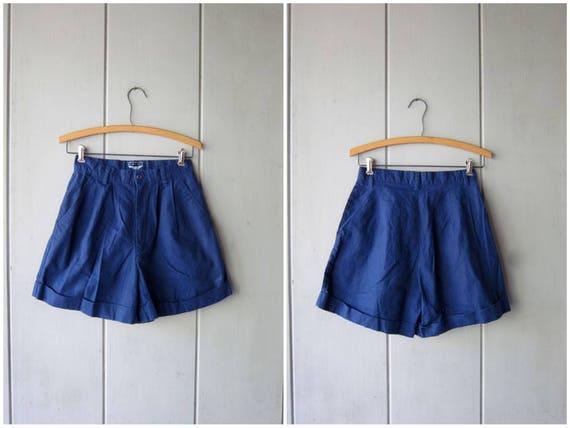 90s Navy Blue Shorts High Waist Pleated Shorts Cotton Preppy Camp Shorts Womens Casual Summer Shorts Minimal Shorts Womens XS Small