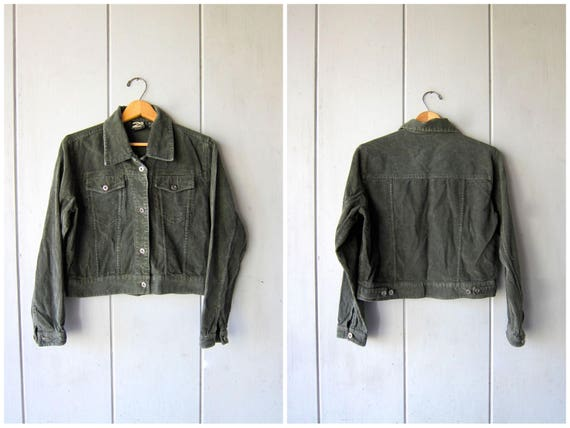 Vintage Army Green Corduroy Jacket Cropped Spring Jacket Button Up Coat Cotton Rib Jacket Hipster Cotton Crop Jacket Womens Small
