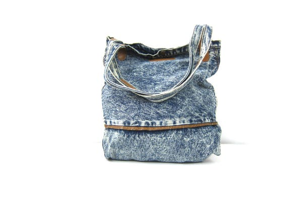 ACID WASH Jean Purse Stone Wash Denim Bag Large Slouchy Cotton Hipster Shoulder Tote Grunge Carry All Class Act Bag Basic Denim Jean Bag GS