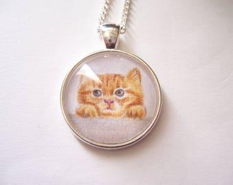 Ginger kitten pendant, wearable art necklace, original cat drawing, miniature animal pet portrait, Silver cat pendant necklace