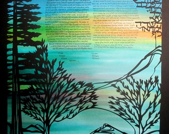 Redwood and Olive Tree Landscape - Papercut Ketubah with hand lettering