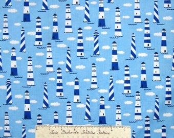 Nautical Fabric - Blue & White Lighthouse Allover - Timeless Treasures YARD