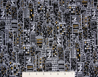 City Fabric - Black & White Packed Skyscraper Building - Timeless Treasures YARD