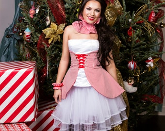 Red Stripe Skirt, Circus Costume, Women's Costume, Clown Costume, Pirate Costume, Cincher Skirt, Striped Skirt, Red and White Skirt