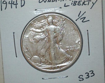 Liberty Walking 1944 D Half Dollar US 90% Silver / US Coin / S33