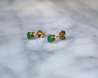 MIDCENTURY VINTAGE CHRYSOPRASE antique 14k gold tiny stud dainty everyday pierced earrings circa 1960s