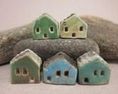 5 Saggar Fired Miniature House Beads... Green/Blue Mix